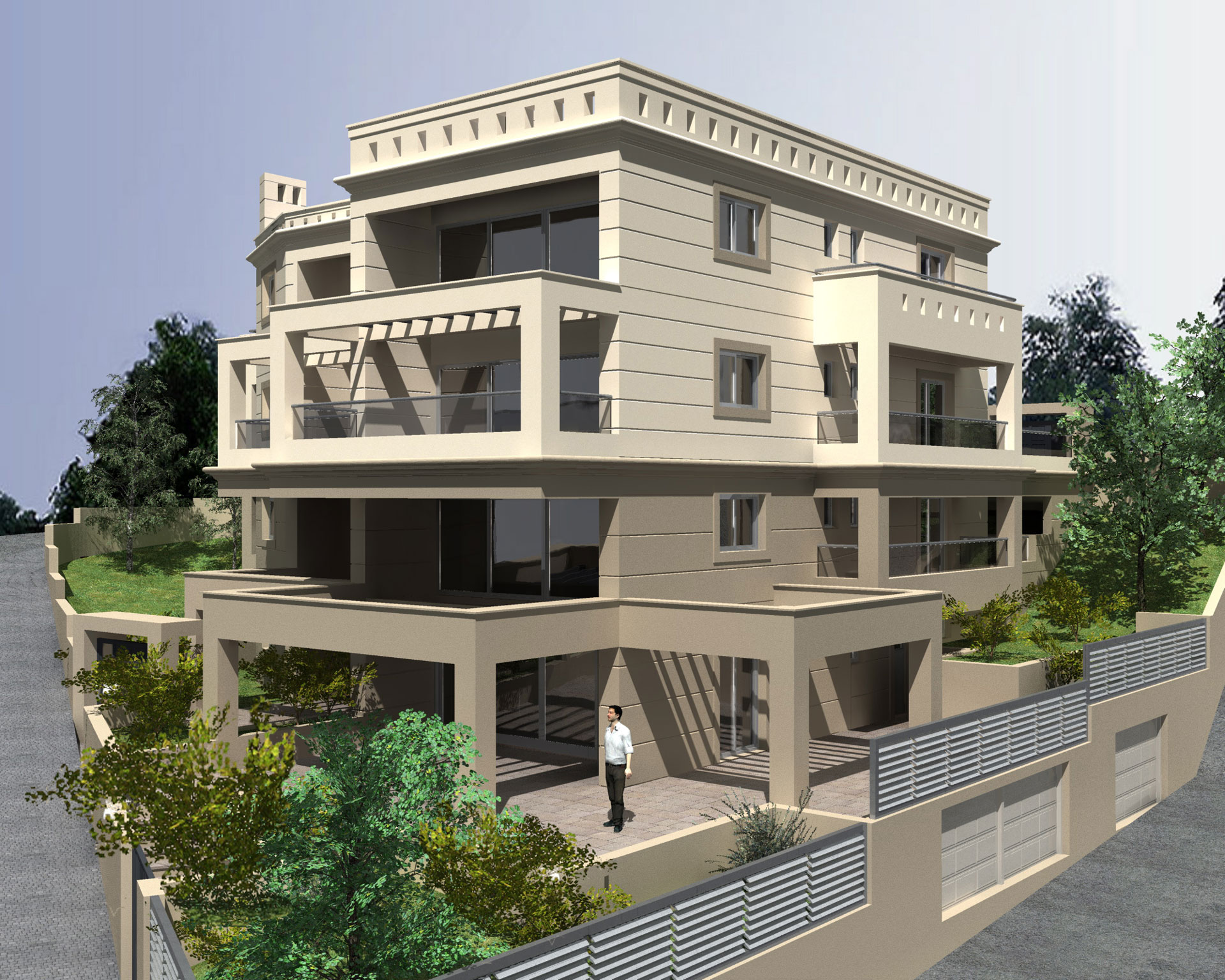 Design of an apartment block in kifisia athens for Apartment block plans